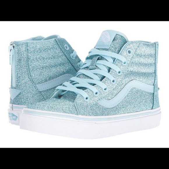 9d1c790240 Vans Girls SK8 Hi Zip Glitter Shoes NIB